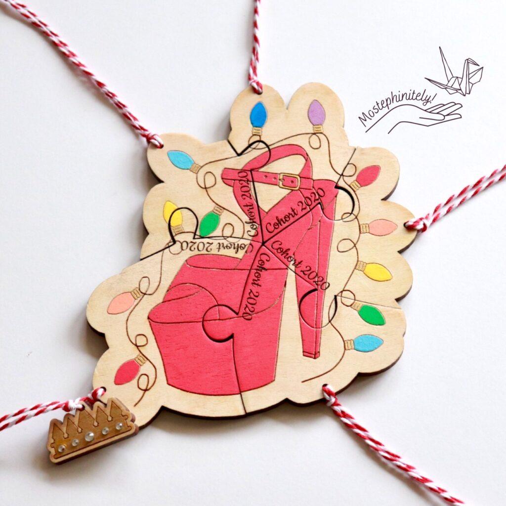 Custom Illustrated Pole Dancer High Heel Puzzle Ornament