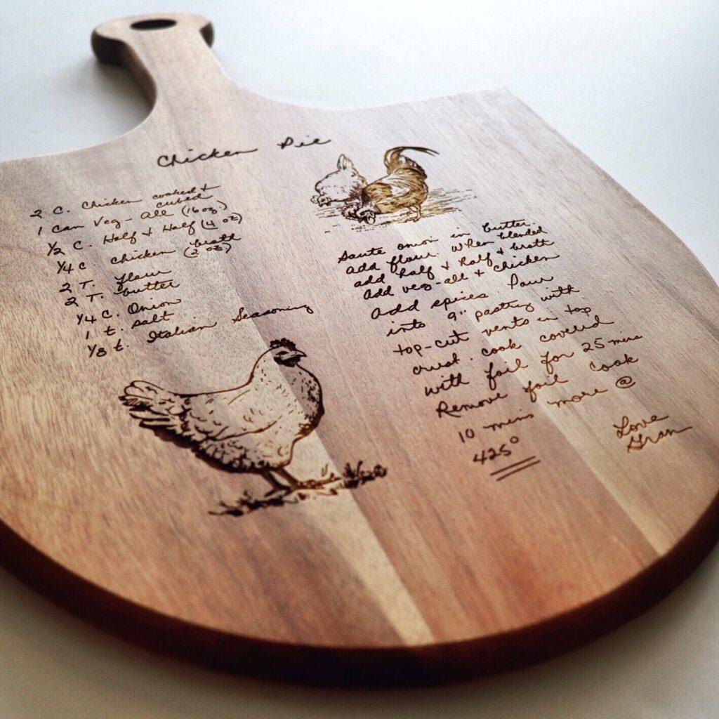 Gram's Handwritten Chicken Pie Recipe Board